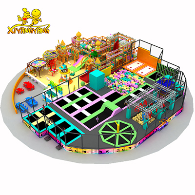 2018 creative new type round trampoline park mix indoor playground for kids
