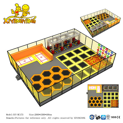 Be customized high quality large commercial indoor trampoline park for sale