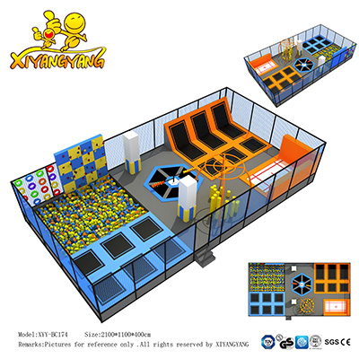 Large kids Indoor Trampoline, professional gymnastic  commercial trampoline park with foam pit