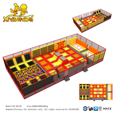 Indoor trampoline park, customizing used indoor trampoline park for adults and kids play for sale