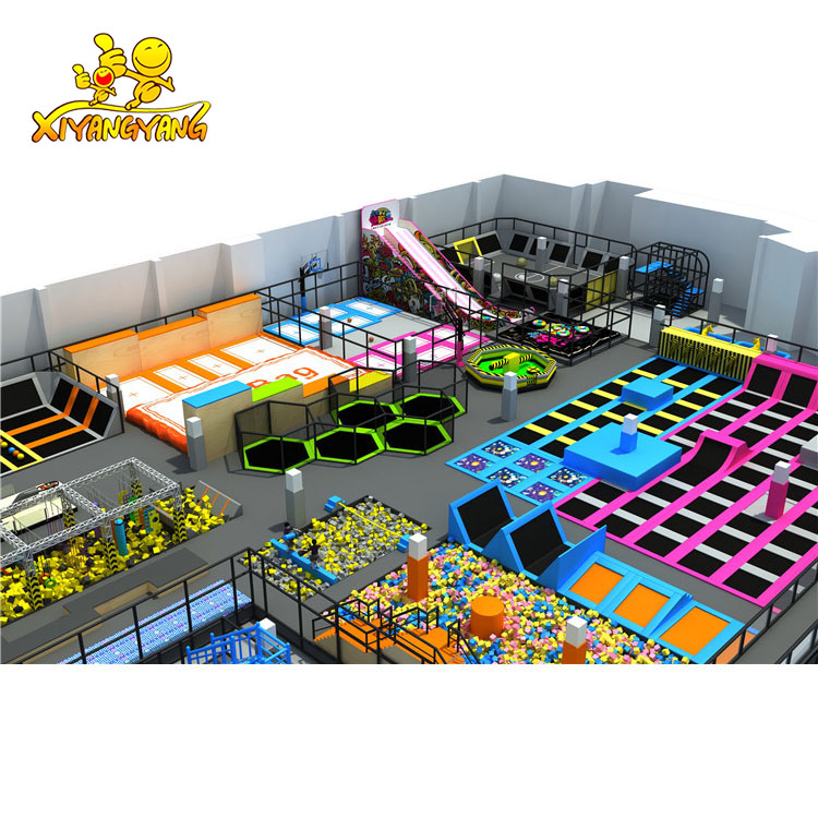 New climbing wall indoor trampolines with foam pit for sale