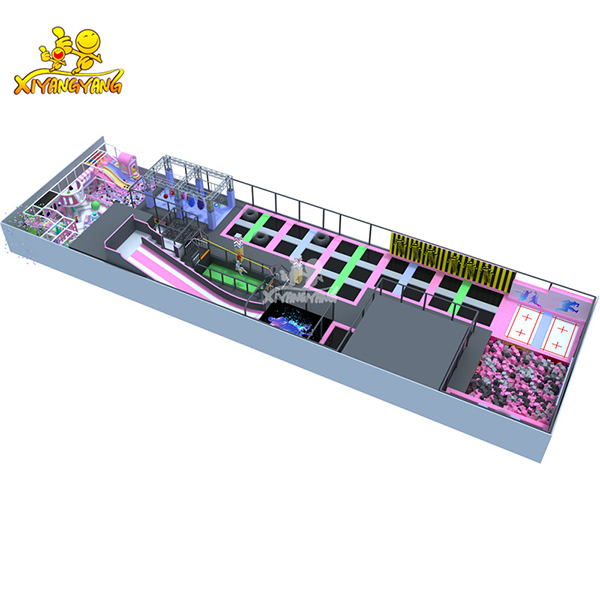2019 ASTM Approved bright color indoor trampoline park mix with indoor structures