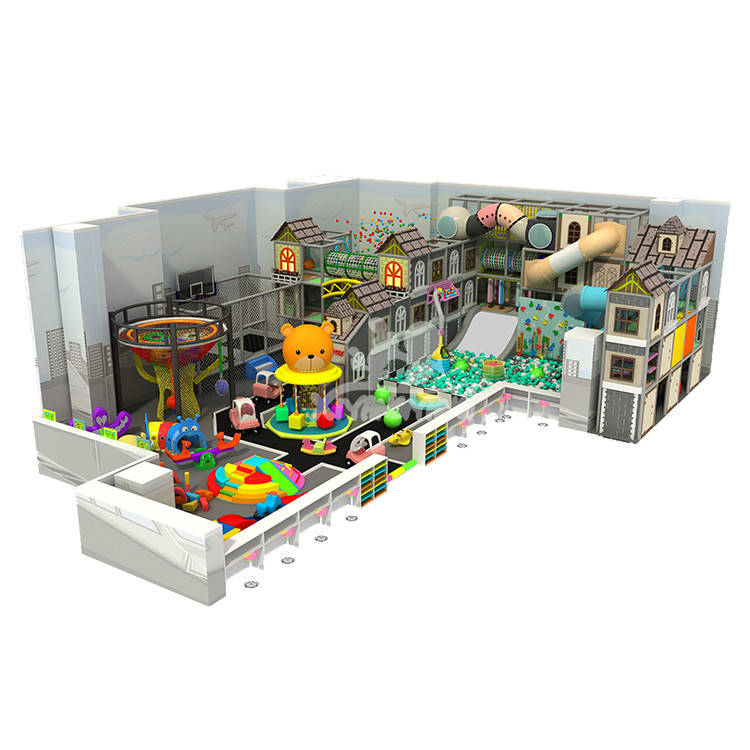 240sqm town theme commercial indoor playground with rainbow net and tunnels for sale