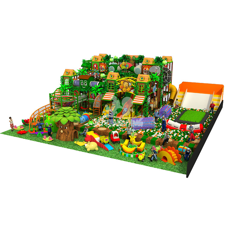 High Level Jungle Theme Indoor Playground With Big Slides and Various Games For Sale
