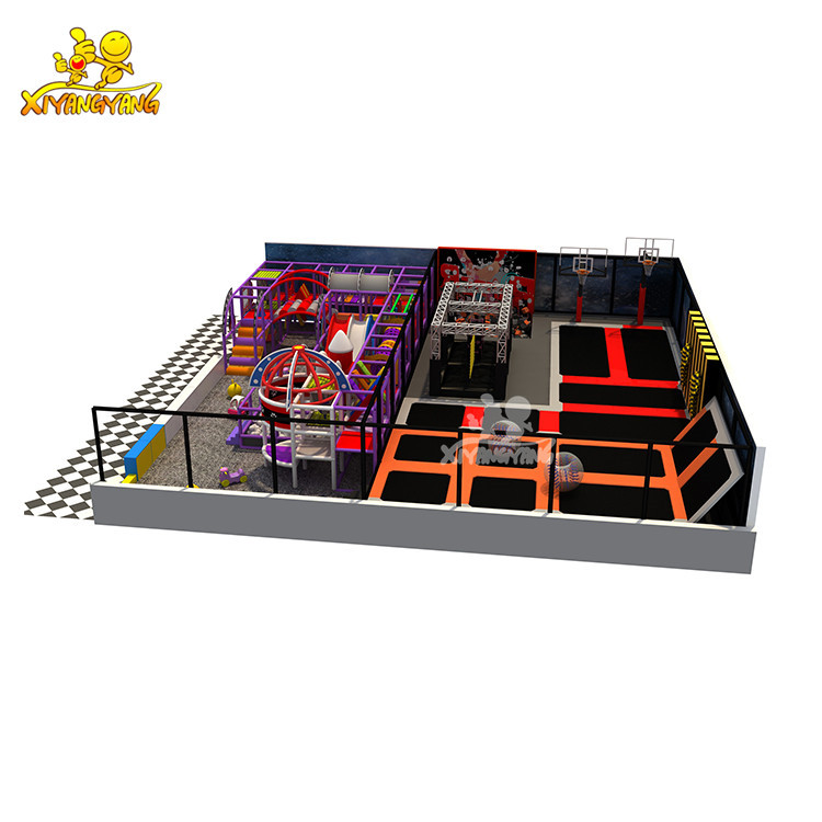 Popular customized space theme indoor playground with trampoline park for sale