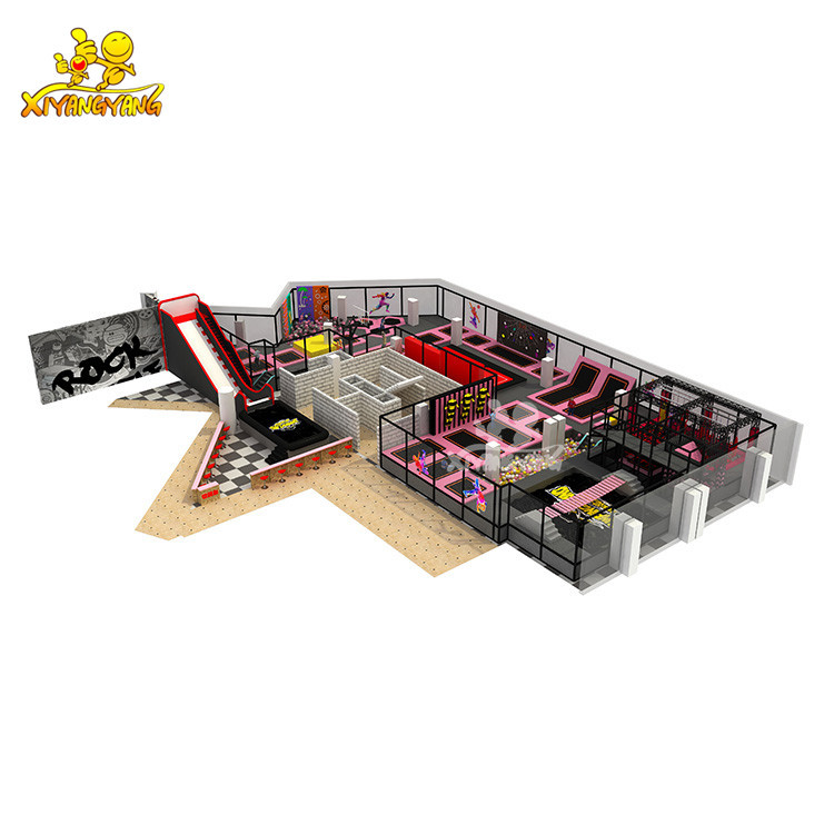 Professional customized indoor trampoline park design for adult bungee jumping factory price