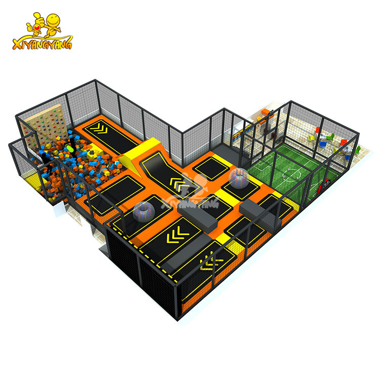 Trampoline park with Football area